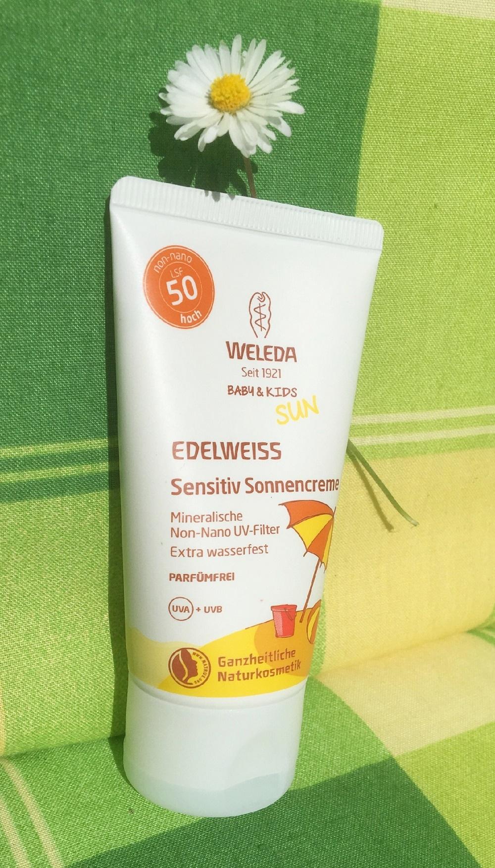 Weleda Edelweiss Sonnencreme Tube mit Gänseblümchen www.sunnyside-of-life.de