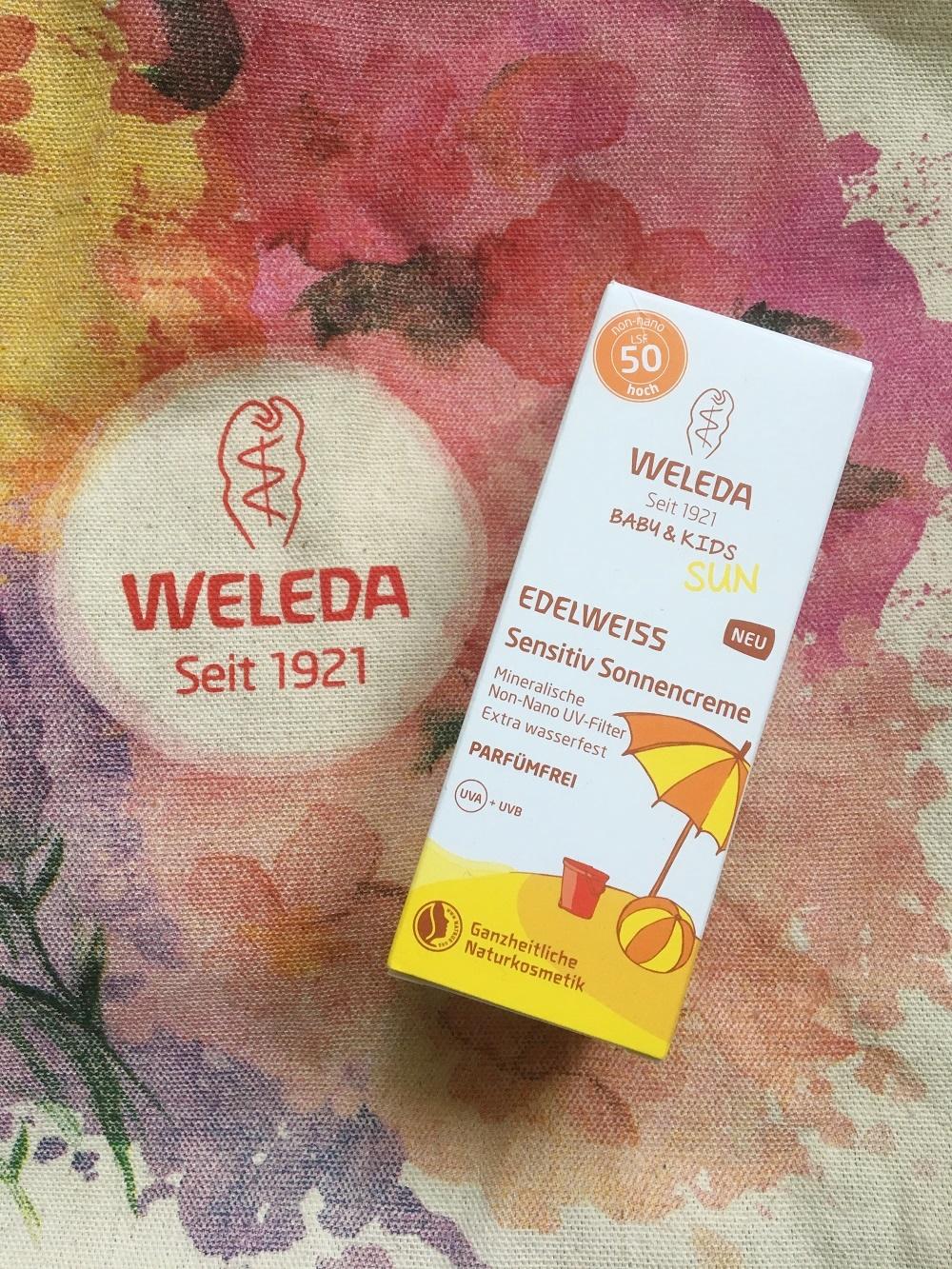 Weleda Edelweiss Sonnencreme Verpackung auf Weleda Jutebeutel www.sunnyside-of-life.de