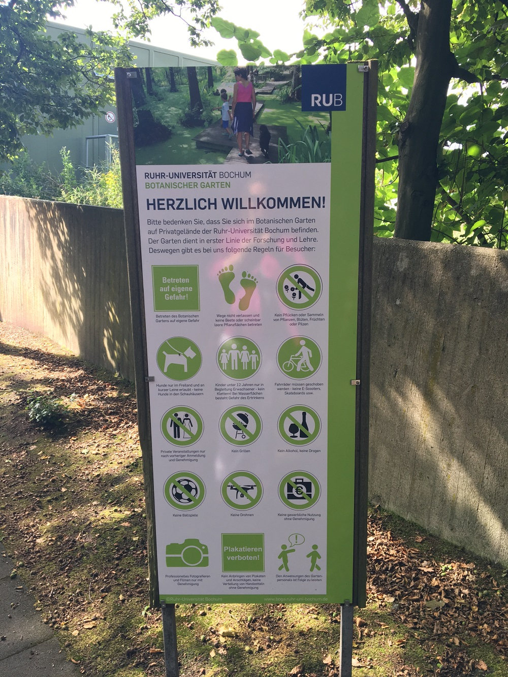 Botanische Garten Bochum Eingangsschild